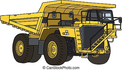 Yellow mining dump truck - Hand drawing of a yellow mining ...