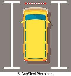Yellow minivan icon, isometric style
