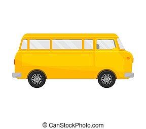 Yellow minivan. Vector illustration on a white background.