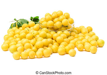 yellow mirabelle plums isolated on white background - stock...