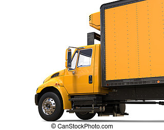 Yellow modern cargo truck - cut shot