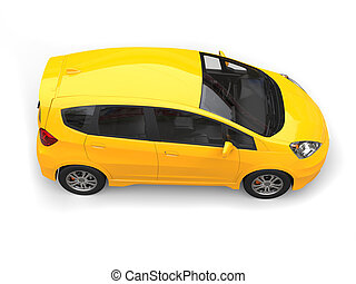 Yellow modern compact car - top side view