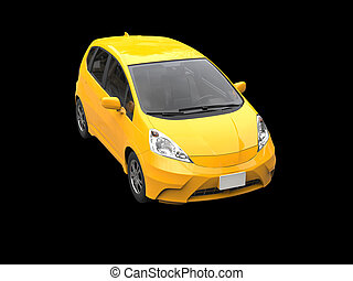 Yellow modern compact car - top view