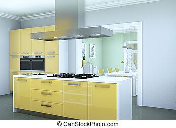 Yellow modern kitchen interior design illustration