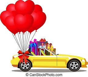 yellow modern opened cartoon cabriolet car full of gift boxes and balloons