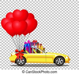 Yellow modern opened cartoon cabriolet car with gifts and balloo