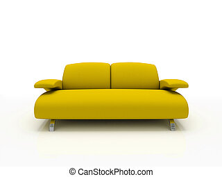 yellow modern sofa on white background  insulated 3d