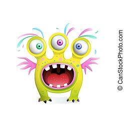 Crazy funny monster creature for kids with three eyes and wings, screaming mouth wide open with teeth. Vector 3d style cartoon for children.