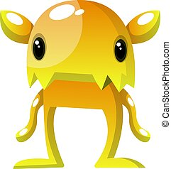 Yellow monster with small eyes illustration vector on white background