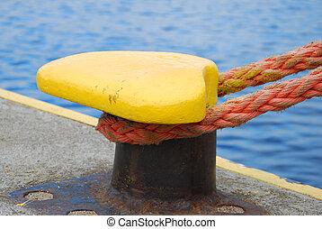 mooring bollard with rope - yellow mooring bollard with rope...