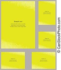Yellow mosaic page corner design template set