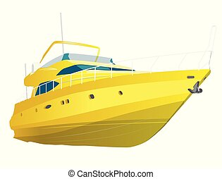 Yellow motor boat. Sea yacht for fishing and leisure time....