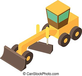 Yellow motor grader icon, isometric 3d style