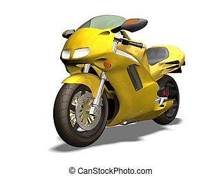 motorcycle - yellow motorcycle 3D isolated  white background