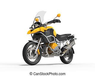Yellow motorcycle - studio shot