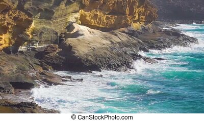Yellow Mountain on the ocean coast - Surf. The Yellow...