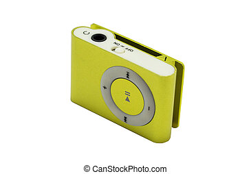 yellow mp3 player isolated on white background