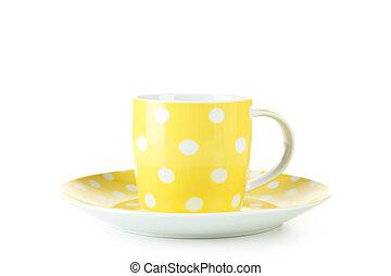 Yellow mug isolated on white