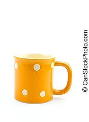 Yellow mug isolated white background