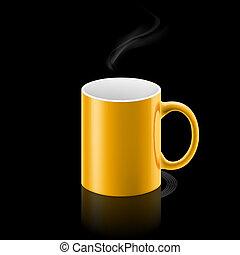 Yellow mug on black background