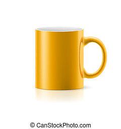 Yellow mug on white
