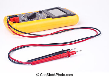 multimeter - yellow multimeter with black and red probs...