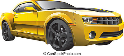 yellow muscle car - Detail vector image of modern muscle...