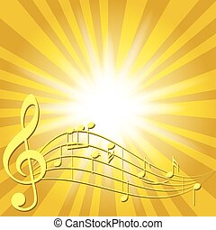 yellow music background with notes and flash - vector