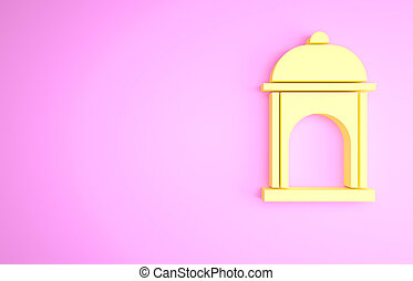 Yellow Muslim Mosque icon isolated on pink background. Minimalism concept. 3d illustration 3D render