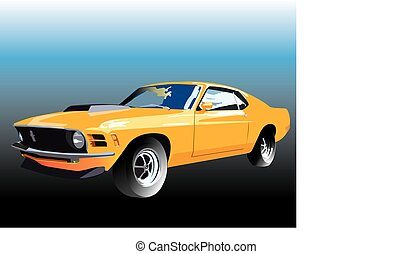 Yellow mustang - Vector graphic illustration design of a old...
