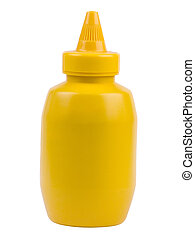 Yellow Mustard Bottle Isolated and label removed