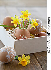 Yellow narcissus in egg shell and painted easter eggs