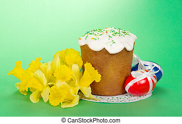 Yellow narcissuses and Easter cake - Bouquet of yellow...