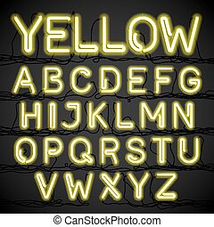 Yellow neon light alphabet