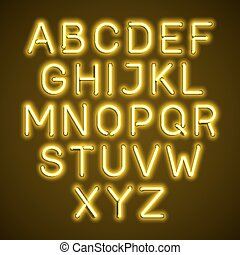 Yellow neon light glowing alphabet