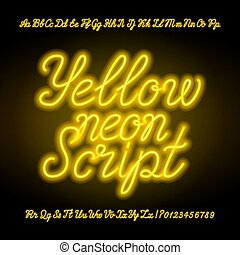 Yellow neon script alphabet font. Handwriting neon uppercase and lowercase letters and numbers.