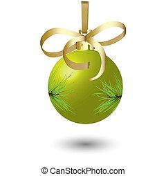 Yellow New Year\'s ball.Vector illustration