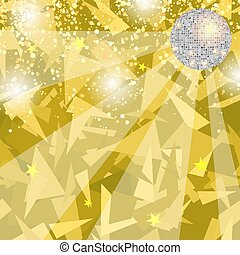 Yellow Night Party Background with Mirror Sphere. Disco Club Banner