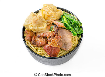 yellow noodle with roasted pork