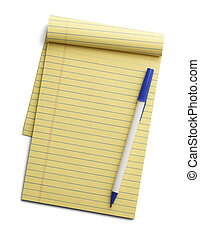 Yellow Note Pad and Pen - Yellow line notepad with pen on...