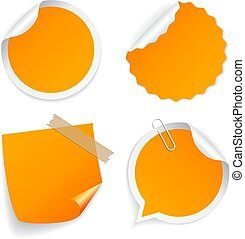 Yellow note paper icon set