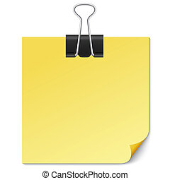 Yellow Note paper with Binder clip on white.