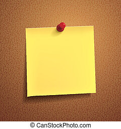 yellow note paper with pin on white background