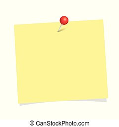 yellow note paper with red pin isolated on a white background