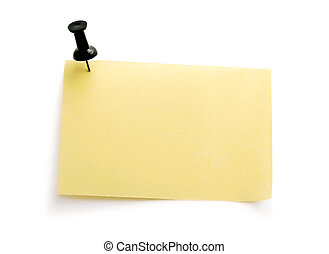 yellow note with black pin