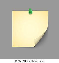 Yellow note with green push pin