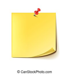 Yellow note with red pin isolated on white vector