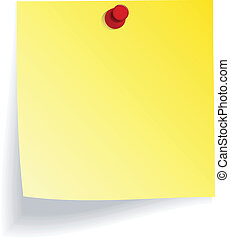 Yellow note with red push pin on white wall