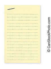 Yellow Note with Staple - Blank lined yellow notepaper...