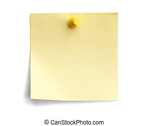 yellow note with yellow pin isolated on white background